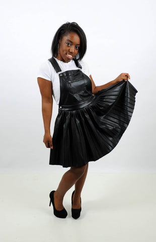 Faux Leather Pleated Overall Skirt, Skirt, QT Couture