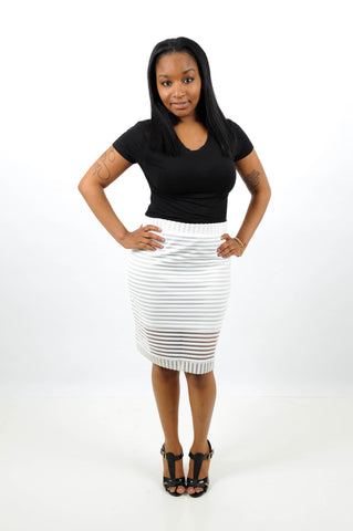 Solid Striped Detail Skirt, Skirt, QT Couture