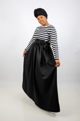 Black Maxi Length Skirt with Sash, Skirt, QT Couture