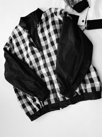 Checker Black Sleeve Bomber Jacket, Jacket, QT Couture