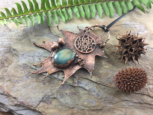 Oak Leaf Labradorite Pendant - Antique Copper - Cat No 1041