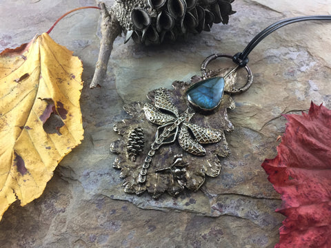 Oak Leaf Labradorite Pendant - Nickel Patina - Cat No 1042