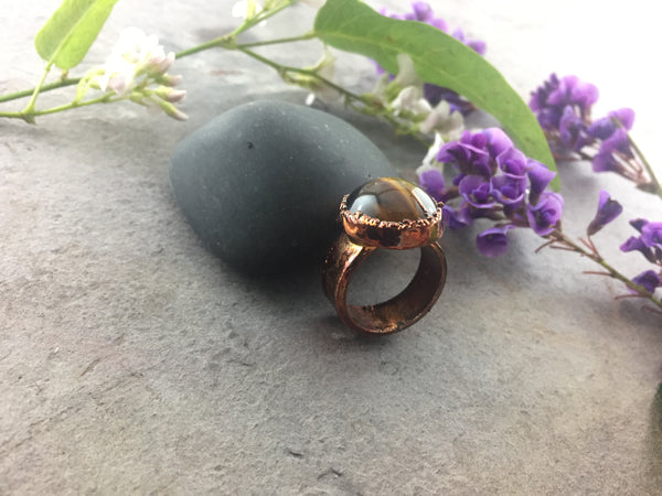 Tigers Eye Ring Size 6 - Copper Patina - Cat No 1083