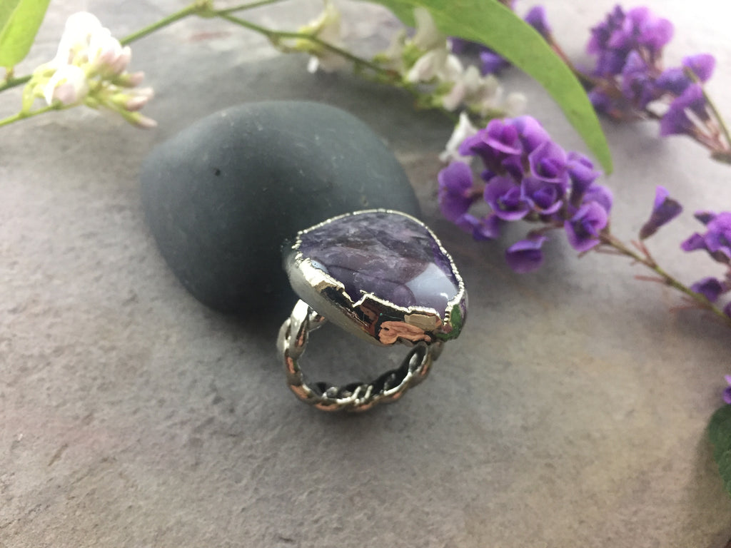 Amethyst Ring Size 8 - Bright Nickel - Cat No 1084