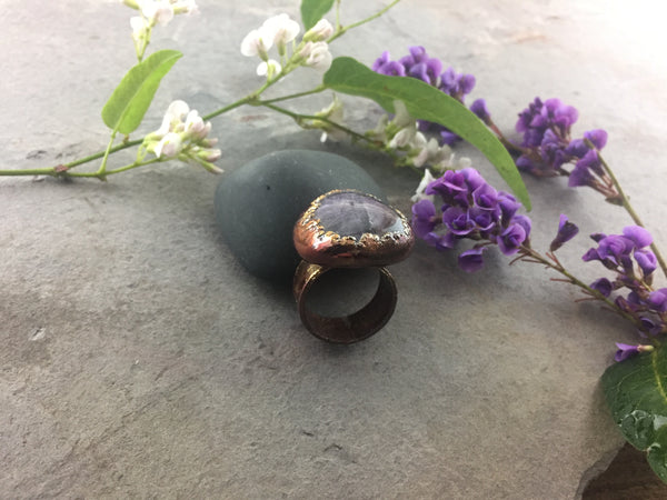Amethyst Ring Size 7 1/2 - Copper Patina - Cat No 1086