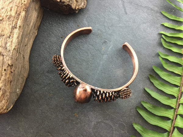 Acorn Pine Cone Seed pod Bracelet - Antique Copper - Cat No 1049