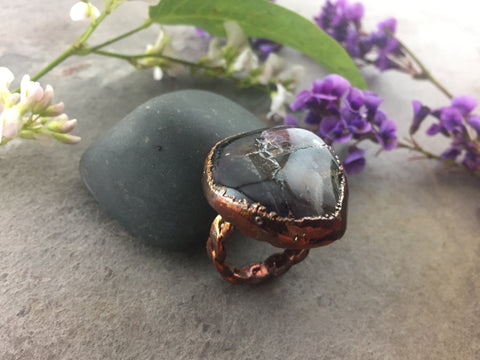 Amethyst Ring Size 9 - Copper Patina - Cat No 1087