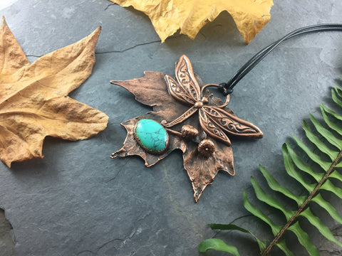 Maple Leaf Dragonfly Pendant - Antique Copper - Cat No 1072