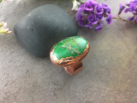 Sea Sediment Jasper Ring Size 6 1/2 - Bright Copper - Cat No 1090