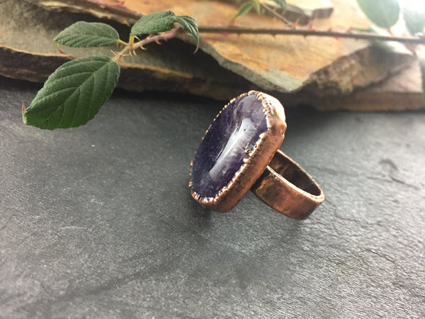 Amethyst Ring Size 7 1/2 - Antique Copper - Cat No 1093