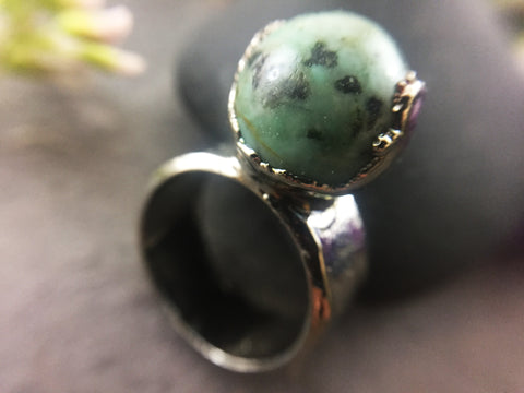African Turquoise Ring Size 6 - Bright Nickel - Cat No 1088