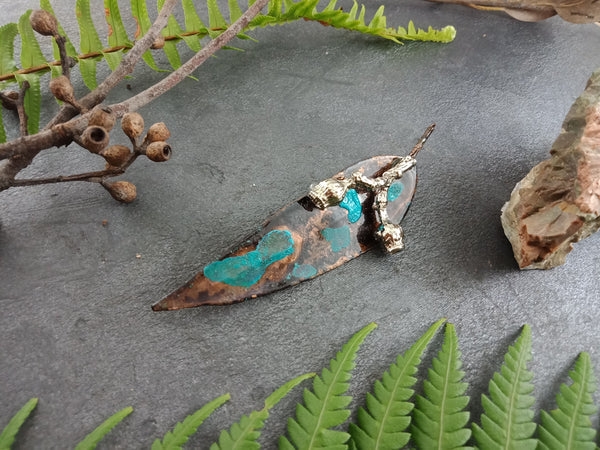 Gum Leaf and Gum Nut Brooch- Blue/Green Patina - Cat No 1158