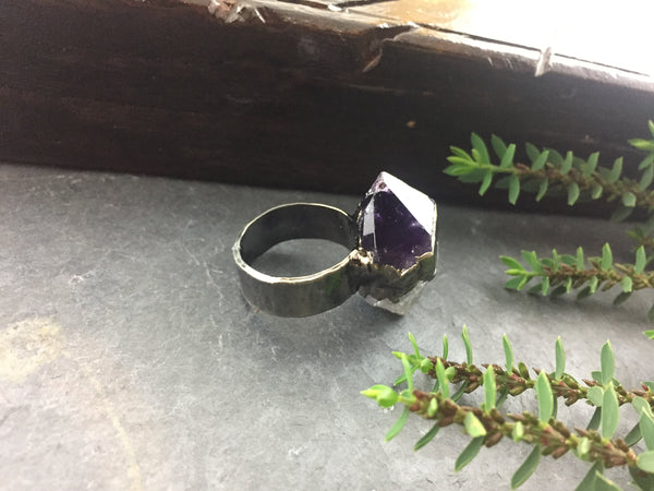 Natural Amethyst Point Ring Size 9 1/2 - Antique Nickel - Cat No 1076