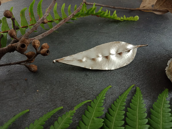 Gum Leaf Brooch - Bright Nickel - Cat No 1159