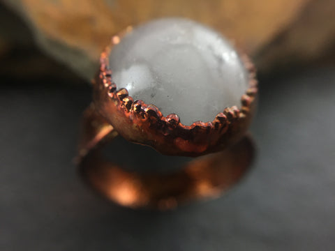 Rose Quartz Ring Size 7 3/4 - Copper Patina - Cat No 1091