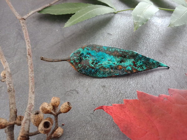 Gum Leaf Brooch - Blue/Green Patina - Cat No 1160