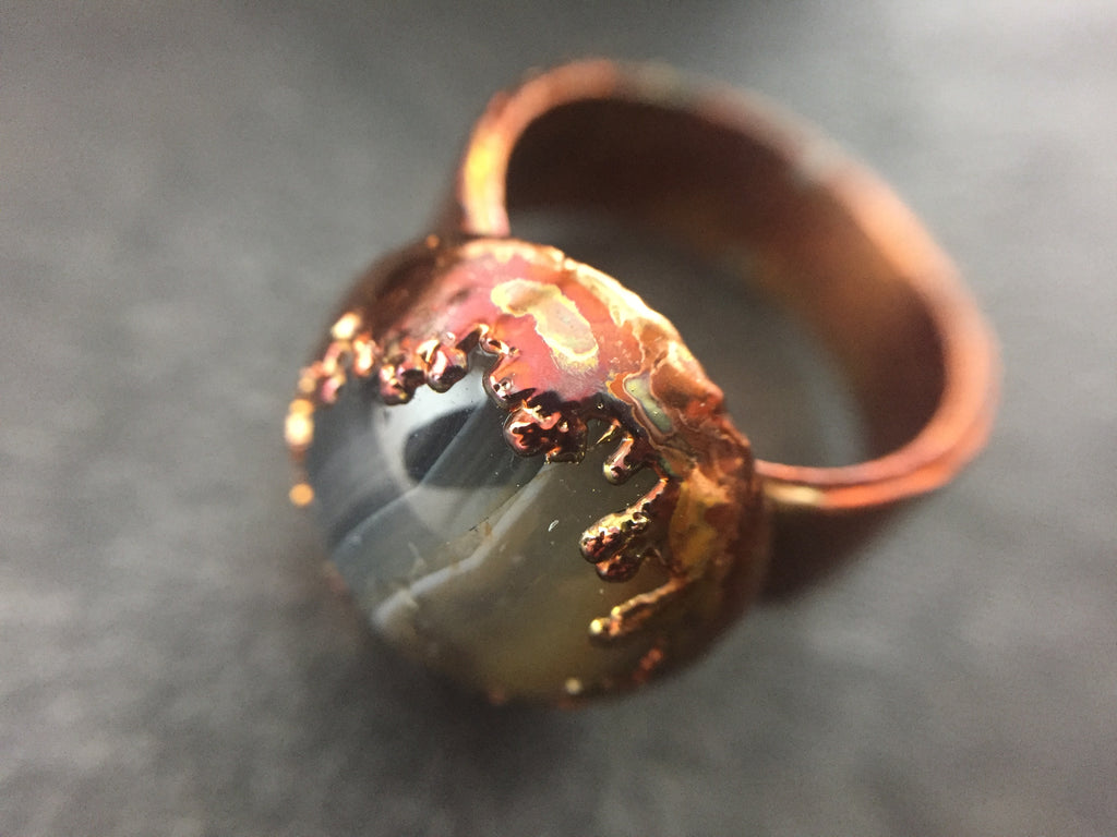 Crazy Lace Agate Ring Size 7 1/2 - Copper Patina - Cat No 1100