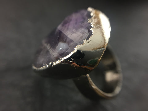 Amethyst Ring Size 6 1/2 - Bright Nickel - Cat No 1101