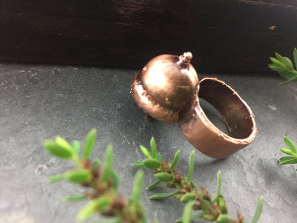 Acorn Ring Size 6 3/4 - Antique Copper - Cat No 1080