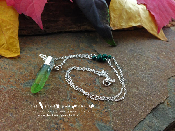 Green Quartz Crystal - Silver - Cat No 112 - Leaf Seed Pod Shell - 2