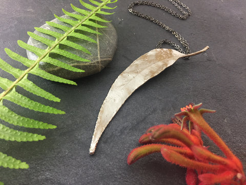 Gum Leaf Pendant - Bright Nickel - Cat No 1120