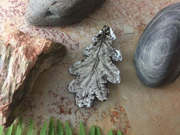 Oak Leaf Brooch - Antique Nickel/Snow Effect - Cat No 1125