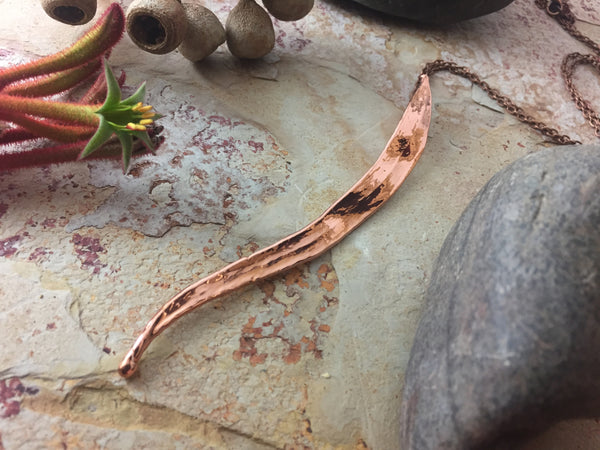 Gum Leaf Pendant - Bright Copper - Cat No 1128