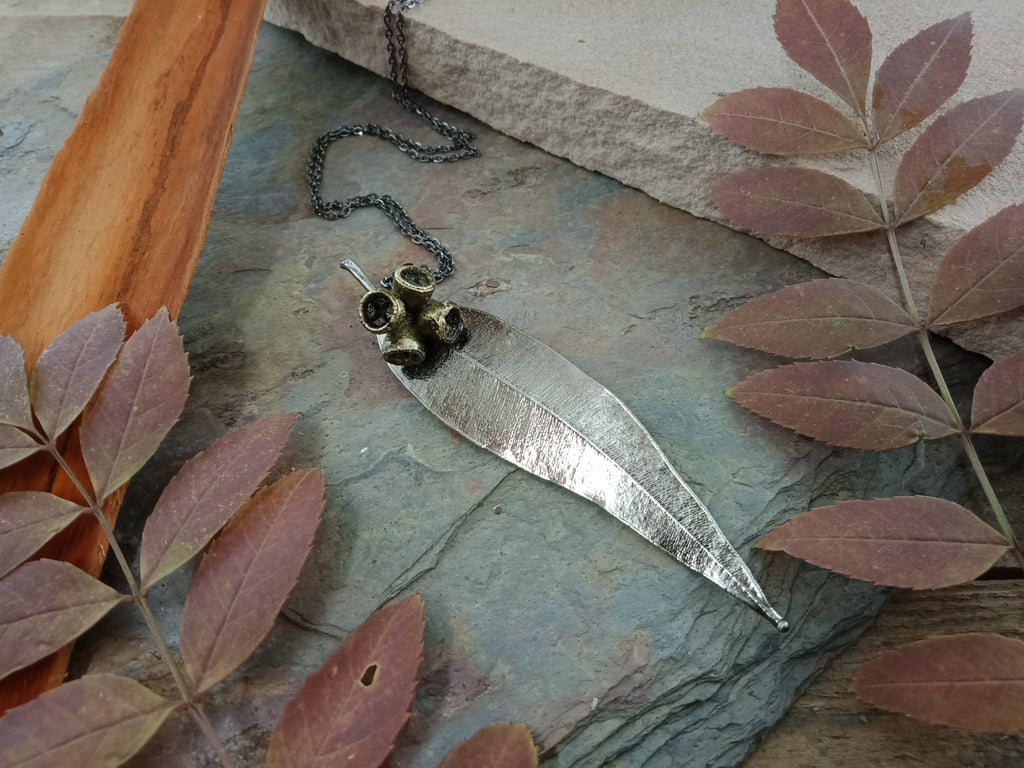 Gum Leaf and Gum Nut Pendant - Antique Nickel - Cat No 1172