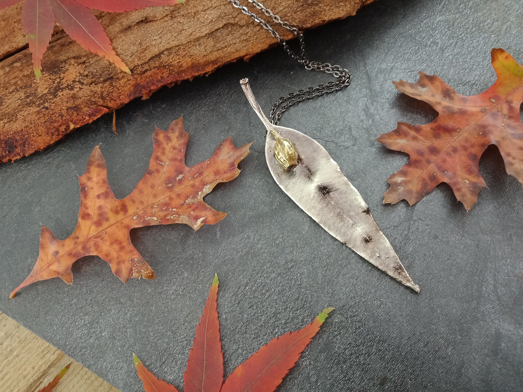 Gum Leaf and Gum Nut Pendant - Antique Nickel - Cat No 1178