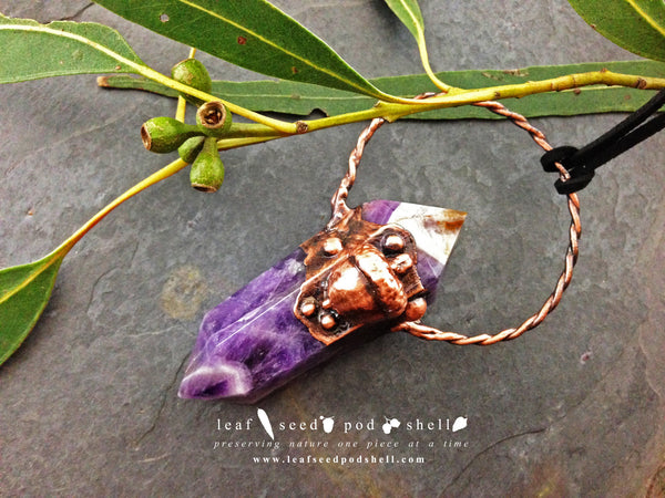 Amethyst Double Point Pendant - Antique Copper - Cat No 235 - Leaf Seed Pod Shell - 2