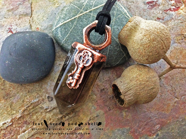 Smokey Quartz Point Pendant - Antique Copper - Cat No 248 - Leaf Seed Pod Shell - 2