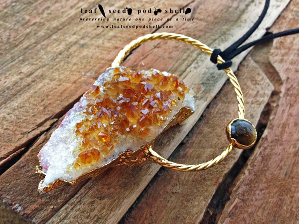 Citrine Cluster Pendant - Gold - Cat No 256 - Leaf Seed Pod Shell - 1
