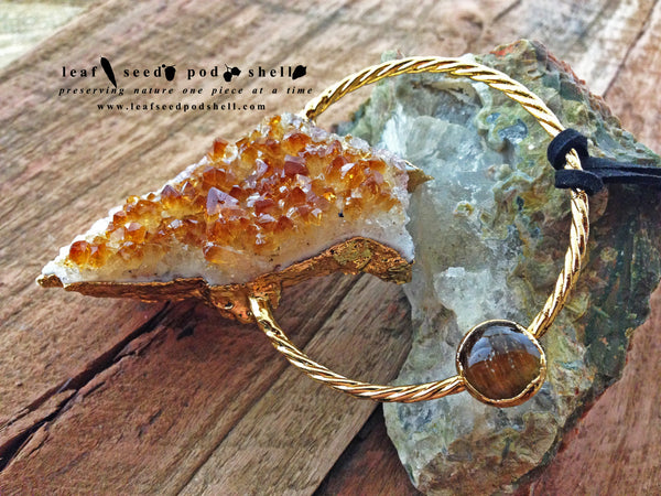 Citrine Cluster Pendant - Gold - Cat No 256 - Leaf Seed Pod Shell - 2