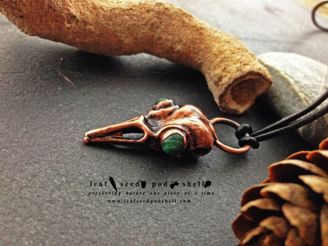 Malachite Bird Skull Pendant - Antique Copper - Cat No 306 - Leaf Seed Pod Shell - 1