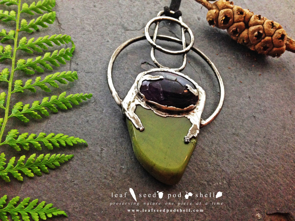 Amethyst Cabochon/Green Stone Pendant - Antique Silver - Cat No 358 - Leaf Seed Pod Shell - 1