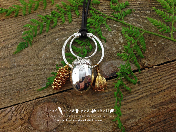 Acorn, Pine Cone, Gum Nut Pendant - Silver - Cat No 367 - Leaf Seed Pod Shell - 2
