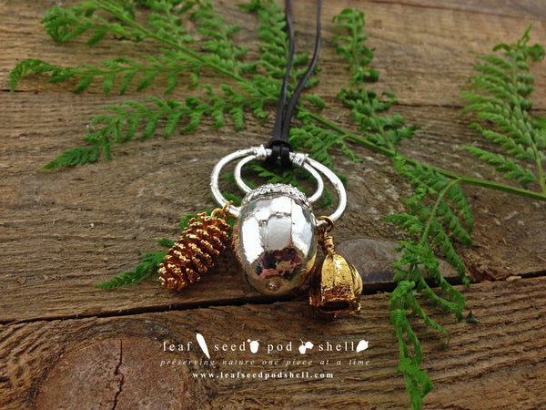 Acorn, Pine Cone, Gum Nut Pendant - Silver - Cat No 367 - Leaf Seed Pod Shell - 3