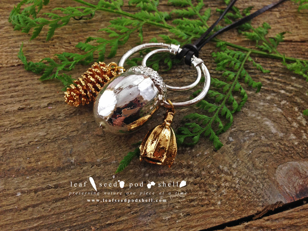 Acorn, Pine Cone, Gum Nut Pendant - Silver - Cat No 367 - Leaf Seed Pod Shell - 1