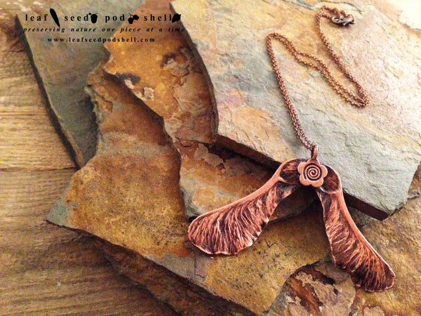 Maple Seed - Antique Copper - Cat No 37 - Leaf Seed Pod Shell - 1