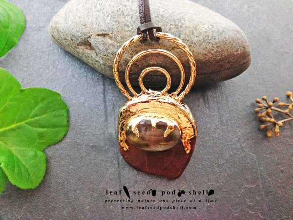 Red Cherry Quartz/Red Agate Pendant - Gold - Cat No 379 - Leaf Seed Pod Shell - 2