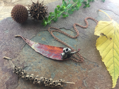 Gum Leaf and Gum Nut Pendant - Copper Patina - Cat No 1003