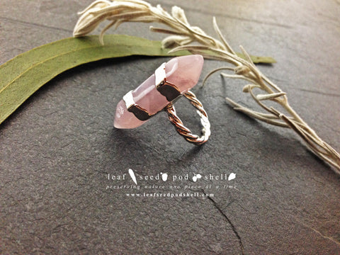 Rose Quartz Double Terminated Ring - Silver - Cat No 390 - Leaf Seed Pod Shell - 1