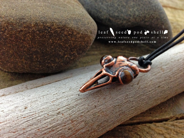 Tigers Eye Bird Skull Pendant - Antique Copper - Cat No 426 - Leaf Seed Pod Shell - 2
