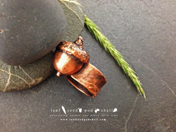 Acorn Ring - Antique Copper - Cat No 434 - Leaf Seed Pod Shell - 2