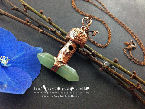 Tiny Birdhouse Pendant - Green Aventurine - Antique Copper - Cat No 458 - Leaf Seed Pod Shell - 1