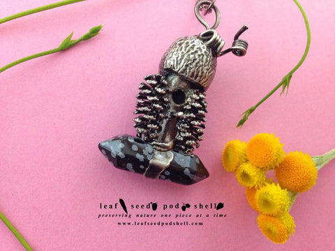Tiny Birdhouse Pendant - Snowflake Obsidian - Antique Silver - Cat No 472 - Leaf Seed Pod Shell - 1