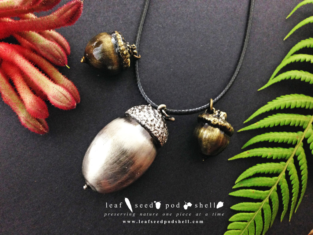 Acorn - Antique Silver - Cat No 397 - Leaf Seed Pod Shell - 1