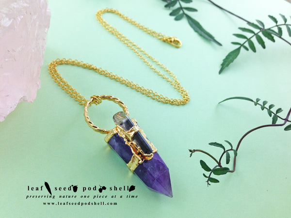 Amethyst Point Pendant - Gold - Cat No 541 - Leaf Seed Pod Shell - 2