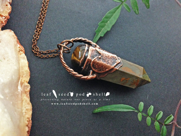 Bloodstone Point Pendant - Antique Copper - Cat No 543 - Leaf Seed Pod Shell - 1