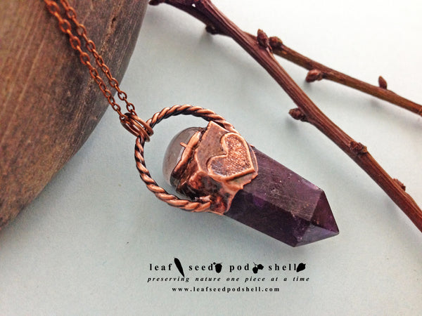 Amethyst Pendant - Antique Copper - Cat No 550 - Leaf Seed Pod Shell - 1